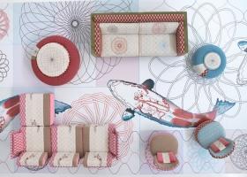 Colección de asientos Sushi, obra de Edward Van Vliet, mezcla gran confort con sofisticados tejidos decorados con referimientos naturales y formas arquitectónicas. Foto gentileza de Moroso.