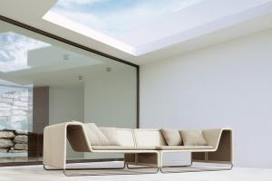 De la colección Aqua, el sistema de asientos modulares Island está especialmente diseñado para exteriores sofisticados y contemporáneos. Obra de Francesco Rota. Foto gentileza de Paola Lenti.