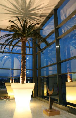 De la colección Vas One Light, maceta iluminada de Ø130 x H120cm, diseño de Luisa Bocchietto. Foto, gentileza de Serralunga.